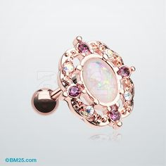Rose Gold Grand Florid Opal Cartilage Tragus Earring                                                                                                                                                      More