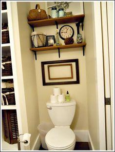 Small bathroom storage over toilet design Bathroom Shelves Over Toilet, Bathroom Shelf Decor, Bathroom Storage, Ikea Bathroom, Budget Bathroom, Bathroom Ideas, Toilet Room, Bathroom Colors, Bathroom Renovations