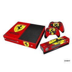 Xbox One Console Skin decal Sticker Ferrari Custom + 2 controller skins Set