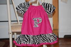 Zebra & pink peasant shirt with initial