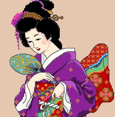 Japanese Geisha in Purple by CrossStitchRinna on Etsy, $9.00