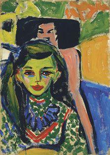 Fränzi ante una silla tallada. Ernst Ludwig Kirchner