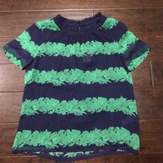 NWT J. Crew SILK RUFFLE TOP IN BEANSTALK STRIPE This Sz 6 J. Crew shirt is so cute. NWT and sells for $118. Get it while you can!! J. Crew Tops