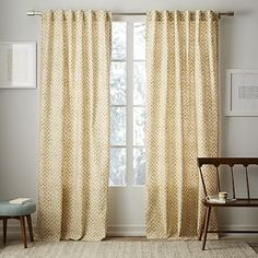 Cotton Canvas Stamped Dots Curtain - Horseradish #westelm-would need to line these