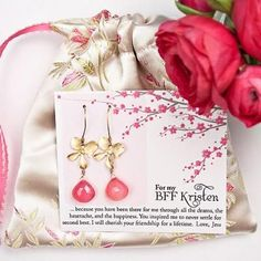 Cute gift for bridesmaids. Handmade jewelry pouch, note and earrings or necklace
