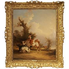 Antique Oil Painting with Giltwood Frame