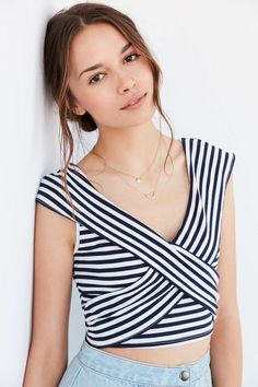 86cac4de5b Kimchi Blue Olivia Striped Cross-Over Top - Urban Outfitters New Frock