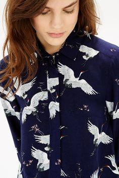 Bird Print Shirt Dress