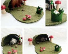Woodland Cave felt wool playscape play mat - tuft of grass pretend play storytelling storybook fairytale fantasy - woodland forest camping
