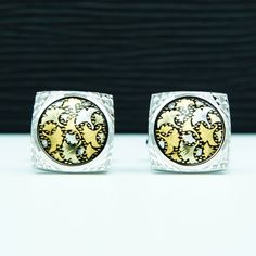 JAPANESE GINKGO LEAVES GOLD & SILVER PLATED HANDCRAFTED CUFFLINKS amt-002 #Handmade