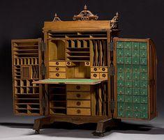 Unusual Vintage Furniture Designs: The Super-Organizing Wooton Desk - Vintage Furniture Design, Victorian Furniture, Rustic Furniture, Antique Furniture, Outdoor Furniture, Retro Furniture, Antique Desk, Primitive Furniture, Futuristic Furniture