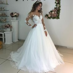 Long Sleeve Wedding Dresses Illusion Scoop Lace Appliques Sheer Back White/ Ivory Tulle Wedding Dress Lace Wedding Gowns 2020 Tulle Wedding Gown, Wedding Dress Trends, Wedding Dress Sleeves, Princess Wedding Dresses, Modest Wedding Dresses, Bridal Dresses, Puffy Wedding Dresses, Elegant Dresses, Sexy Dresses