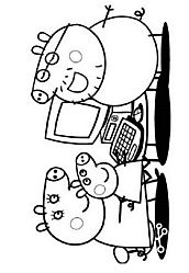 Peppa pig cartoon coloring pages for kids how to coloring peppa