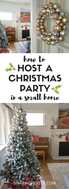 It's almost Christmas and it's time to party!!  But how do you play the hostess when you live in a small space?  Never fear, I've got plenty of tips and tricks to entertain in your tiny house or apartment so you can host the Christmas, Holiday, or Cookie Exchange party and keep all your guests happy. #christmas #holiday #entertaining #christmasparty #holidayparty #smallhouse #smallspace #apartment #smallspacehosting #hostess