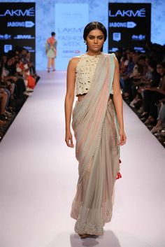 Love this colour palatte and the pearl trim. Highlights from Lakme Fashion Week Summer/Resort 2015 - frou frou by archana rao Lakme Fashion Week 2015, India Fashion Week, Asian Fashion, Fashion Weeks, Ethnic Fashion, Indian Dresses, Indian Outfits, Indian Clothes, Wedding Guest Style Inspiration