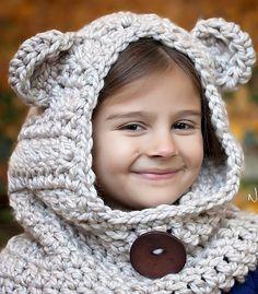 Crochet PATTERN - Crochet Bear Hood Cowl Pattern
