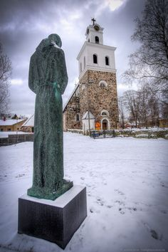 Church statue in Rauma, Finland