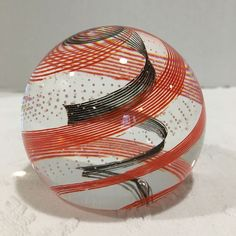 "CAITHNESS Glass Paperweight Black Orange & Bubbles Swirled"" Scotland CIIG Second"