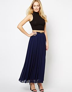 Asos: The Style pleated navy maxi skirt // Style and Substance Magazine - Your online magazine for all things modest. http://www.styleandsubstancemagazine.com
