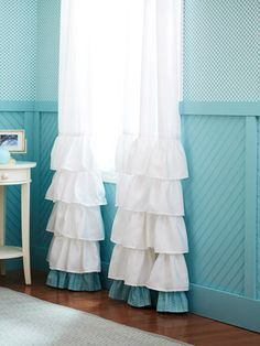 Curtains - Storage-Packed Bedroom From Scratch -- Better Homes and Gardens -- BHG.com. Also love these curtains with the accent color on the bottom, but with the ruffles all the way to the top
