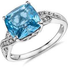 Blue Nile Swiss Blue Topaz and White Sapphire Ring