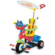 Take your child for a ride on the Mickey Mouse Push N' Ride Trike and hear Mickey talk and play his favorite music. Slide down the ears on the Mousekedoer to see turning gears and blinking lights. Pre