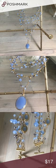 Carolee blue stone necklace Carolee blue stone necklace. Perfect for evening! No box. Great condition but some wear/tarnish to the hardware in some places Carolee Jewelry Necklaces
