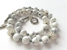 White Howlite Grey Crystal and Silver Ice Bead Gem Necklace