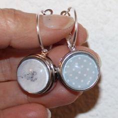 """boucles d'oreilles boutons-pression""""pissenlit/pois"""" 18/20 mm, créoles 20 mm de diamètre : Boucles d'oreille par lou-l-a-fee-creations-bijoux-bouton-pression"""