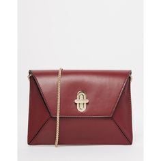 ASOS Leather 3D Panelled Cross Body Bag (3.860 RUB) ❤ liked on Polyvore featuring bags, handbags, shoulder bags, red, leather cross body purse, leather crossbody handbags, crossbody shoulder bags, chain strap shoulder bag and leather purse