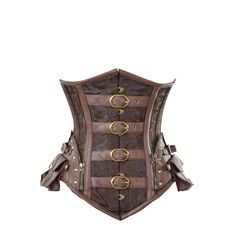 Brown Steampunk Corset with Buckle and Pocket Detail
