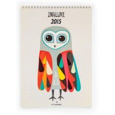 Inaluxe 2015 Calendar. A4 size and white spiral bound, this beautiful quality calendar will bring a new original artwork to every month of the year.  It's made in Australia using 100% post-consumer waste and certified carbon neutral.