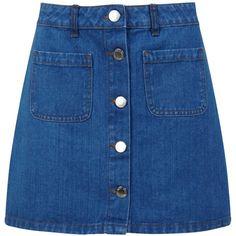 Miss Selfridge Denim Skirt, Mid Wash (€21) ❤ liked on Polyvore featuring skirts, mini skirts, bottoms, flared skirt, flare skirt, denim mini skirt, short denim skirts and short blue skirt