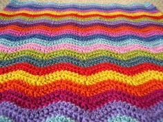 Neat Ripple Afghan - bright and bold colors make up this easy ripple afghan
