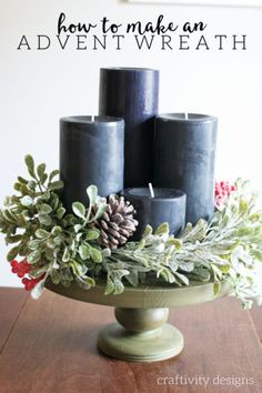 17 Modern Advent Wreath Ideas that are Beautiful and Meaningful! New takes on the traditional Advent Wreath. Celebrate Christmas with a new tradition and make your own DIY Advent wreath. Advent Wreath Candles, Christmas Advent Wreath, Christmas Crafts, Advent Wreaths, Reindeer Christmas, Handmade Christmas, Modern Christmas, Winter Christmas, Christmas Holidays