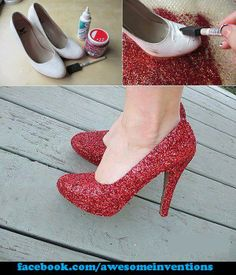 diy red sparkly shoes