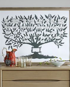 Tree and Label Templates  Display your lineage with an elegant, detailed family tree made using our tree and label templates.  Introduction  With its warm gray tone and beautiful details, this drawing by New York artist Melinda Beck has a sophisticated charm and a pleasing symmetry that's perfect for an elegant family tree.