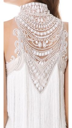 Marchesa Tiered Tassel Cocktail Dress Love the detail on the top of the dress, it would look lovely on maxi dress with a low cut in front Moda Fashion, High Fashion, Womens Fashion, Fashion 2014, Fashion Hair, Mode Glamour, Fashion Details, Fashion Design, Mode Inspiration