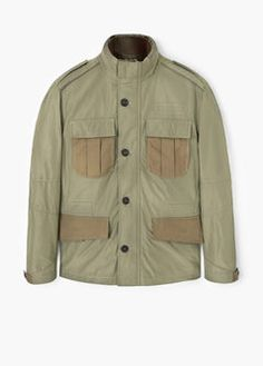 Casual line Water-repellent fabric Funnel neck Loops on the shoulders Two chest pockets with flaps Long sleeve with buttoned cuffs Two side pockets with flaps Drawstring waist Zip and button fastening Inner pockets Inner lining Mango Sale, Brown Jacket, Field Jacket, Funnel Neck, Military Jacket, Long Sleeve, Casual, Shirts, Clothes