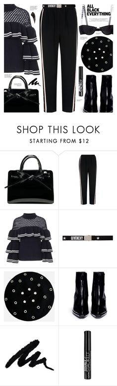 """""""Monochrome Black Out"""" by chocolate-addicted-angel ❤ liked on Polyvore featuring Whistles, self-portrait, Givenchy, Ashley Stewart, Reike Nen, Vision and NYX"""