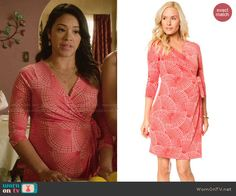 Jane's coral printed wrap dress on Jane the Virgin.  Outfit Details: http://wornontv.net/47887/ #JanetheVirgin