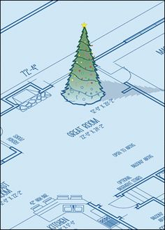 "Blueprint Tree ""architecture"" themed Christmas Card"