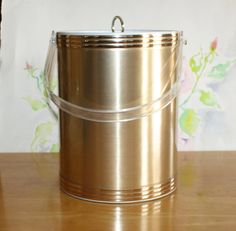 Vintage Thermal Ice Bucket, Champagne Bucket with Lucite Lid and Handle