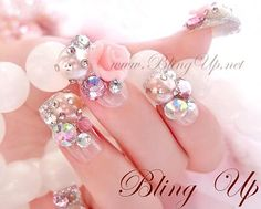 Bling Up Inc.  Silver Glitter French Tip Japanese Nail Art with 3D Roses, Rhinestones, and Pearl , $43.99 (http:// | Nail nail fashion