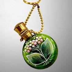 Pretty and Feminine Enameled Chatelaine Green Glass Perfume Bottle (vintage)