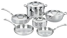 The kitchens of France were the inspiration behind the elegant Cuisinart French Classic Stainless Cookware Collection. The French Classic 10 piece cookware Cast Iron Cookware, Cookware Set, Cuisinart Cookware, Bakeware, Induction Cookware, French Classic, Stainless Steel Dishwasher, Glass Ceramic, Dream Homes
