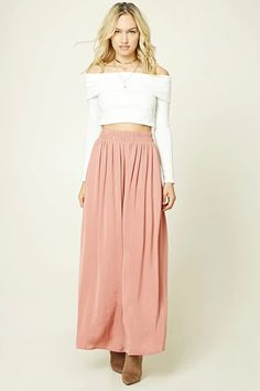 Forever 21 Contemporary - A satin sheeny maxi skirt featuring an elasticized smocked waistband and a flowy silhouette.