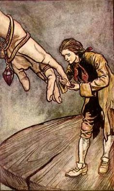 The artwork Original watercolour illustration for ''Gulliver''s Travels'' by Swift, Gulliver in Brobdingnag, 190 - Arthur Rackham we deliver as art print on canvas, poster, plate or finest hand made paper. Art And Illustration, Watercolor Illustration, Art Illustrations, Arthur Rackham, Artist Canvas, Canvas Art, Harry Clarke, Gulliver's Travels, Ecole Art