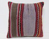 20x20 kilim pillow 20x20 purplish green red striped pillow large bohemian pillow oversized decorative pillow large floor cushion cover 24012