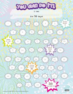 50 day you can do it chart for kids. Teaching them to set goals and help them complete them. Reward Chart Kids, Rewards Chart, Sticker Chart, Goal Charts, Mileena, Behaviour Chart, Classroom Projects, School Psychology, Child Life